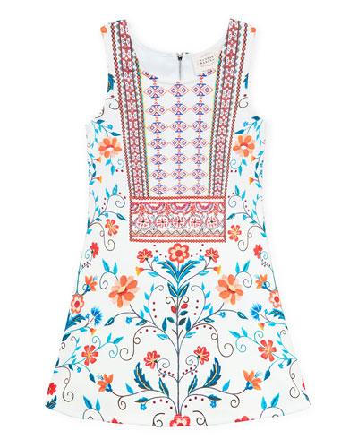 Floral & Aztec Print Sleeveless Dress, Size 7-14