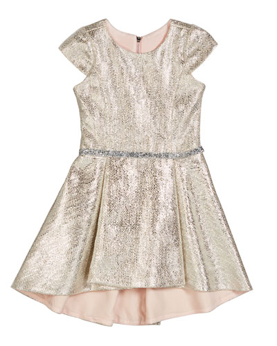Sabine Metallic High-Low Dress, Size 7-16