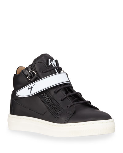 London Leather Grip-Strap High-Top Sneakers, Baby/Toddler/Kids