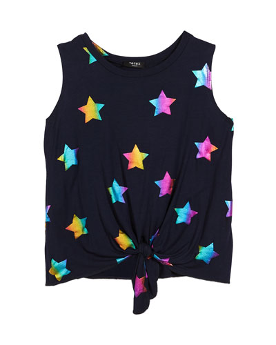 Rainbow Star Foil-Print Tie-Front Tank Top, Size 7-16