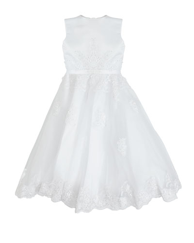 Hand-Beaded Lace Applique Dress, Size 5-12