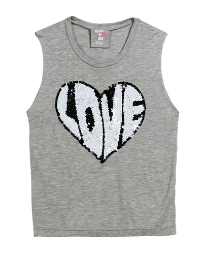 Sequin Love Heart Tank Top, Size S-XL