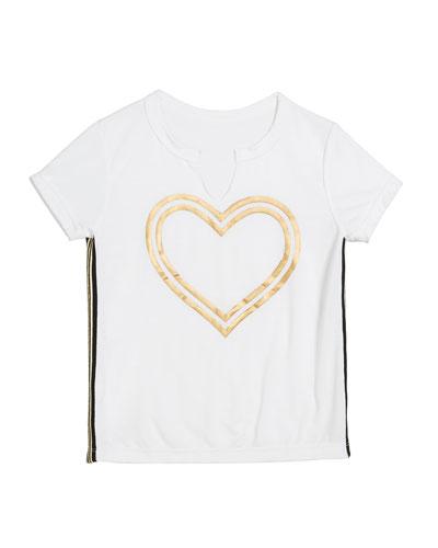 Gold Foil Heart Tee, Size S-XL