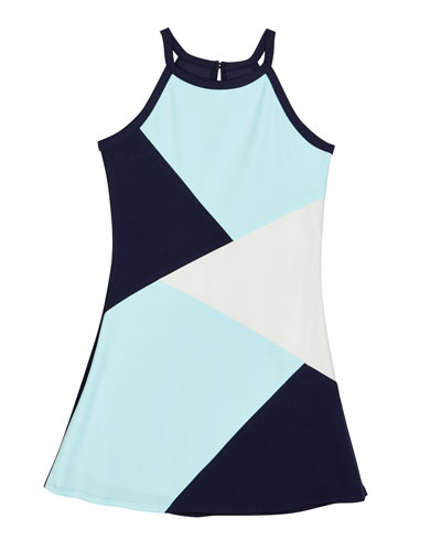 The South Beach Colorblock Techno Crepe Dress, Size S-XL
