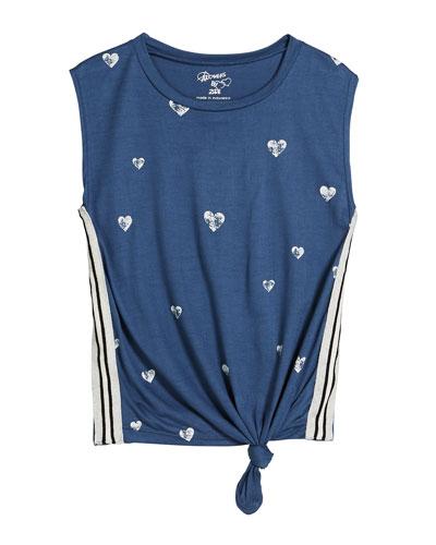 Mini Hearts Print Tank Top, Size S-XL
