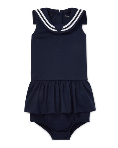 Sleeveless Nautical Sailor Dress w/ Matching Bloomers, Size 6-24 Months