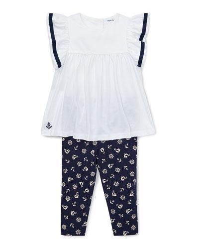 Stripe Sleeve Top w/ Nautical Print Leggings, Size 6-24 Months