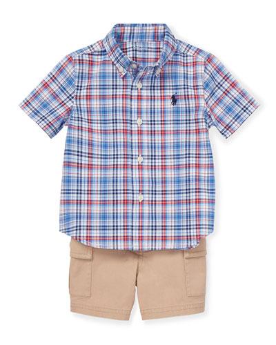 Short-Sleeve Plaid Shirt w/ Cargo Shorts & Belt, Size 6-24 Months
