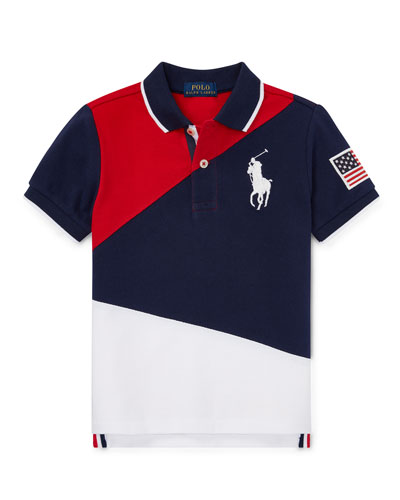 Diagonal Colorblock Polo Shirt, Size 2-4