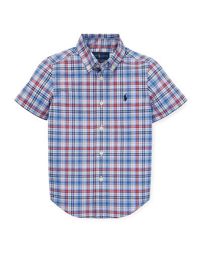 Short-Sleeve Collared Plaid Shirt, Size 2-4