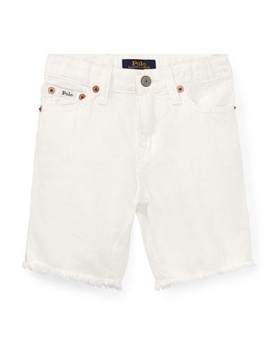 Raw Edge Denim Shorts, Size 2-4