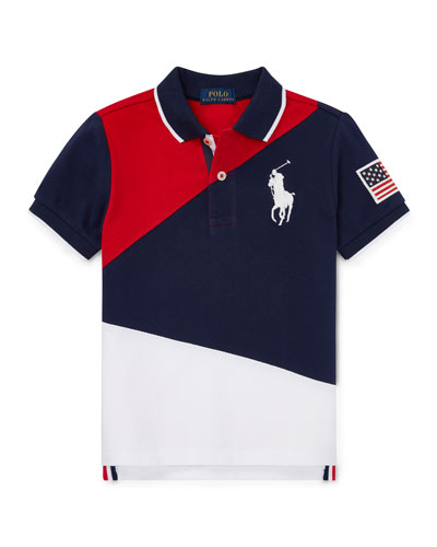 Diagonal Colorblock Polo Shirt, Size 5-7