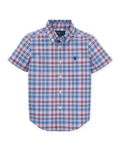 Short-Sleeve Collared Plaid Shirt, Size 5-7