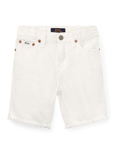 Raw Edge Denim Shorts, Size 5-7
