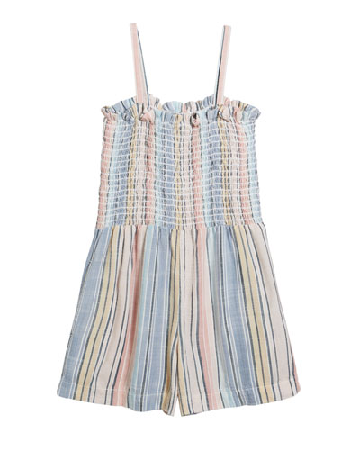 Multi-Stripe Sleeveless Smocked Romper, Size 8-14