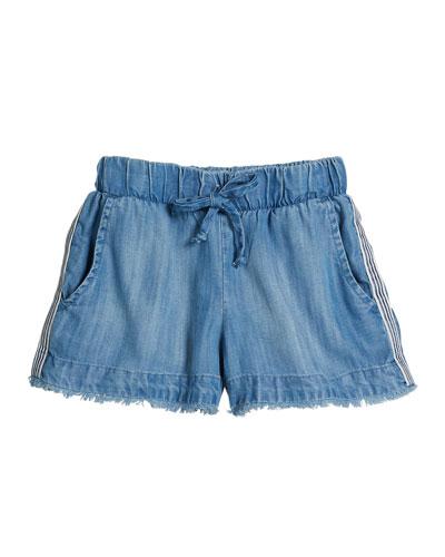 Raw Edge Denim Shorts w/ Striped Trim, Size 8-14