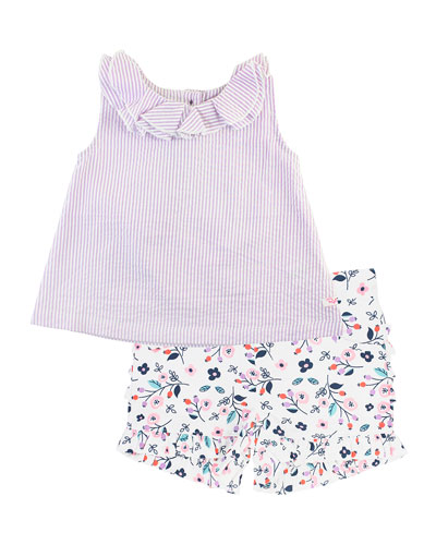 Stripe Seersucker Ruffle Collar Tank Top w/ Berry Sweet Printed Shorts, Size 12M-3T