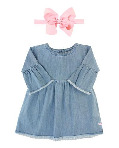 Frayed Chambray Babydoll Dress w/ Grosgrain Bow Headband, Size 3M-3T