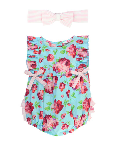 Life Is Rosy Printed Romper w/ Matching Bow Headband, Size 0-24 Months