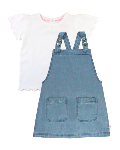Denim Jumper Dress w/ Scallop Tee, Size 3M-3T