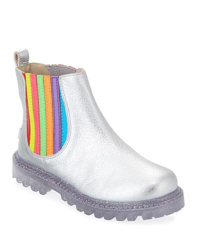 Lara Rainbow Metallic Leather Boots, Baby/Toddler/Kids