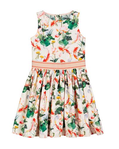 Carli Woven Koi Fish Print Dress, Size 2T-10