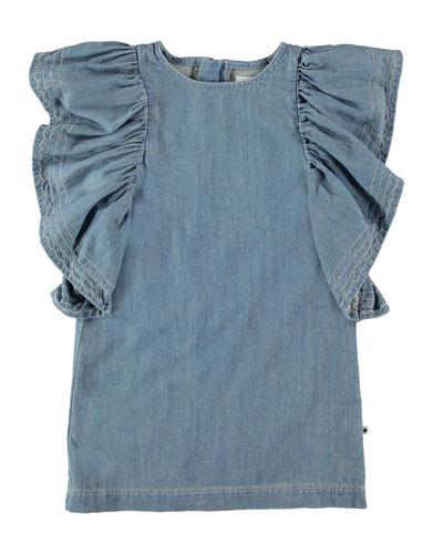 Candis Ruffle-Trim Denim Dress, Size 3T-16