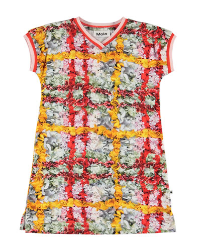 California Floral Print Jersey V-Neck Dress, Size 2T-12