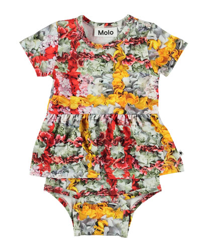 Frannie Floral Print Skirted Bodysuit, Size 3-18 Months