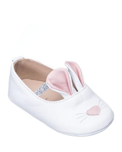 Girls' Leather Bunny Sleeper Ballet Flat, Infant/Toddler