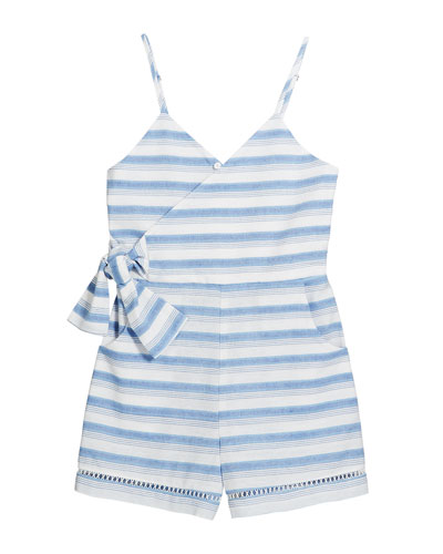 Perla Stripe Wrap Sleeveless Romper, Size 4-6X