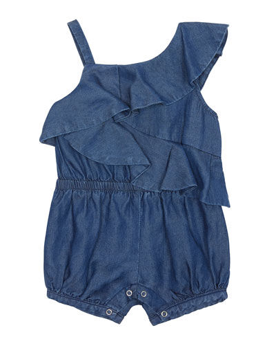 Antonella Chambray One-Shoulder Romper, Size 12-24 Months