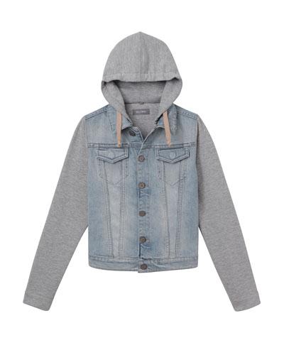 Boys' Manning Denim Jacket w/ Jersey Hood & Sleeves, Size XS-XL
