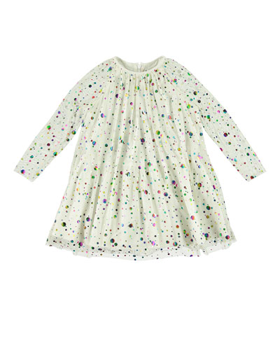 Foil Dots Tulle Long-Sleeve Dress, Size 5-14