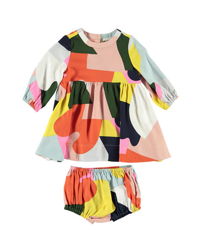 Twill Colorblock Long-Sleeve Dress w/ Bloomers, Size 6-36 Months