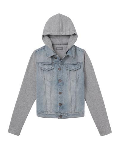 07b9deb43 Boys' Manning Denim Jacket w/ Jersey Hood & Sleeves, Size 3-6X