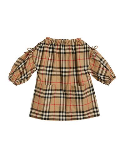 Alenka Archive Check Long-Sleeve Dress, Size 6M-2