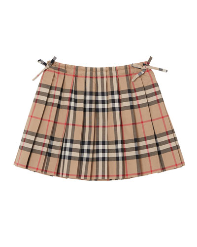 ed11402ef2 Mini Pearly Archive Check Pleated Skirt, Size 6M-2