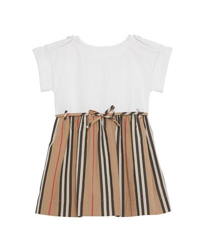Rhonda Jersey & Icon Stripe Poplin Dress, Blue, Size 6M-2