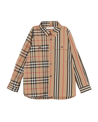 Amir Icon Stripe & Check Button-Down Shirt, Size 3-14