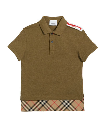 Hammond Short-Sleeve Check-Trim Polo Shirt, Size 3-14