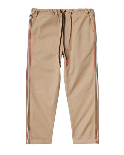 Curran Drawstring Chino Pants w/ Icon Stripe Sides, Size 3-14
