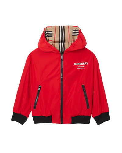 Tommy Icon Stripe Reversible Hooded Jacket, Size 4-8