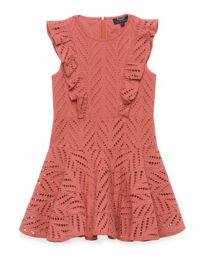 Sadie Ruffle-Trim Eyelet Dress, Size 8-16