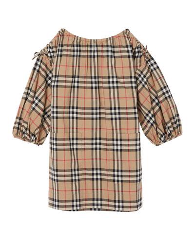 Alenka Archive Check Long-Sleeve Dress, Size 3-14