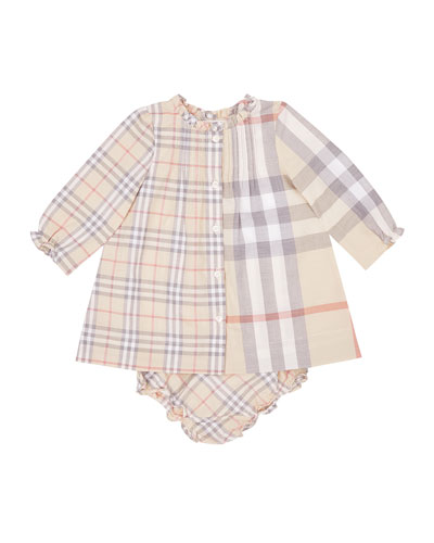 Marissa Mixed Check Long-Sleeve Dress w/ Bloomers, Size 3-18 Months