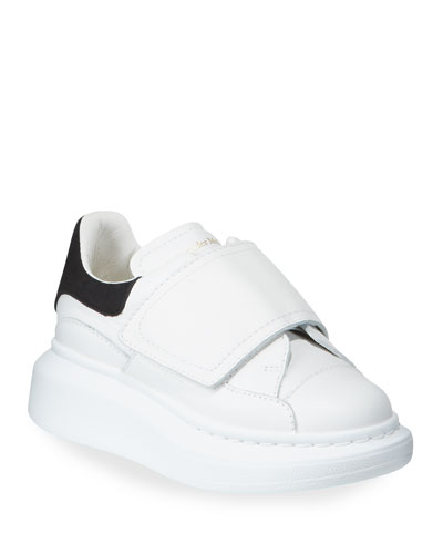 Oversized Grip-Strap Leather Sneakers, Toddler/Kids