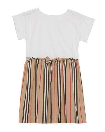 Rhonda Jersey & Icon Stripe Poplin Dress, Blue, Size 3-14