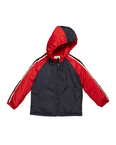 Boy's Colorblock Hooded Jacket w/ Logo Taping, Size 12-36 Months
