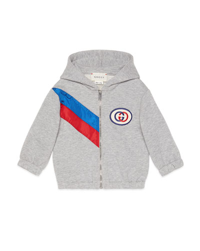 Hooded Zip-Up Sweatshirt w/ Contrast Striping, Size 6-36 Months